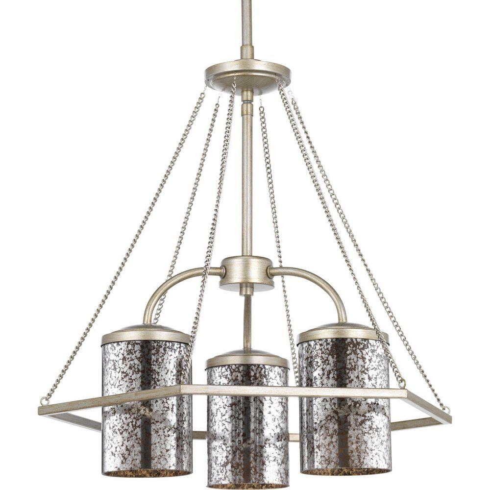 Progress Lighting Indi Collection 3-Light Silver Ridge Chandelier with Antique  Mirrored Glass - Progress Lighting Indi Collection 3-Light Silver Ridge Chandelier