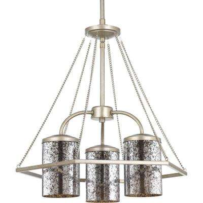 Indi Collection 3-Light Silver Ridge Chandelier with Antique Mirrored Glass