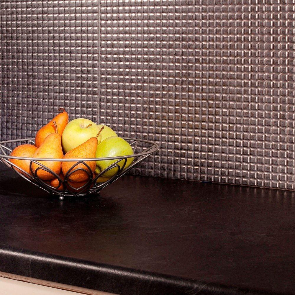Fasade 24 in. x 18 in. Squares PVC Decorative Backsplash Panel in Galvanized Steel
