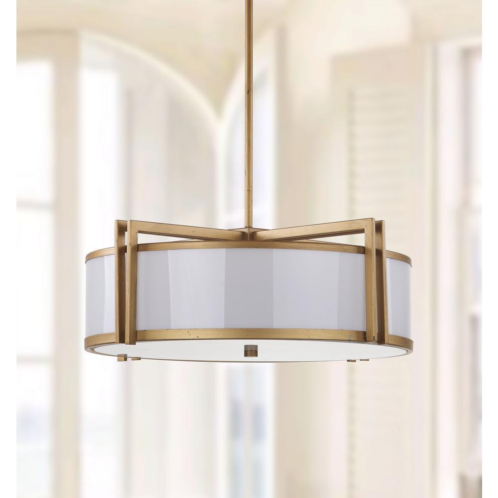 Orb Drum 5-Light Antique Gold Pendant