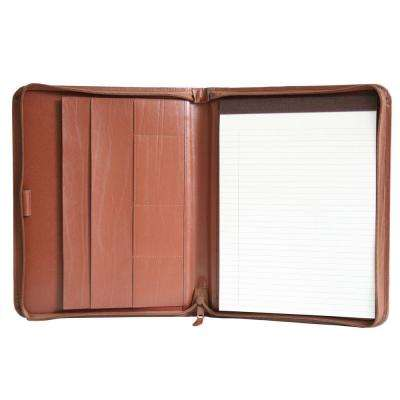 Executive Convertible Zippered Writing Portfolio Organizer, Tan