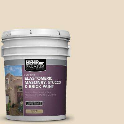 5 gal. #MS-40 Navajo White Elastomeric Masonry, Stucco and Brick Exterior Paint
