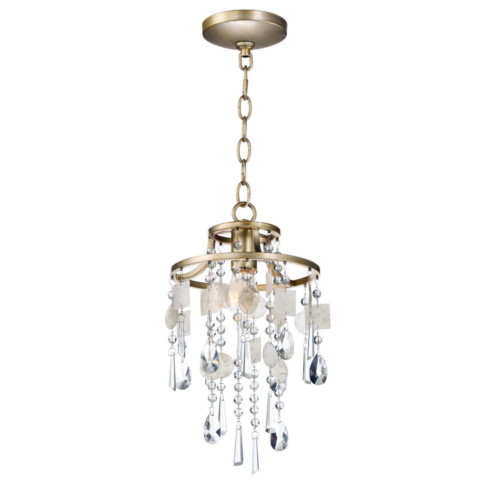 Maxim Lighting Cebu 1 Light Capiz Gold Silver Pendant 14422czgs The Home Depot