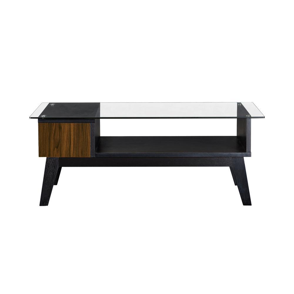 Baxley Dark Walnut Drop-Down Storage Glass Top Coffee Table