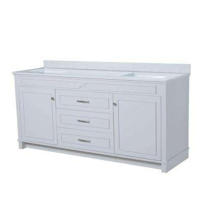 Bombay 72.5 in. W x 22 in. D Vanity in French Gray with Quartz Vanity Top in White with White Basin