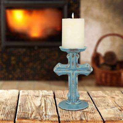 8 in. Turquoise Ceramic Cross Pillar Candle Holder