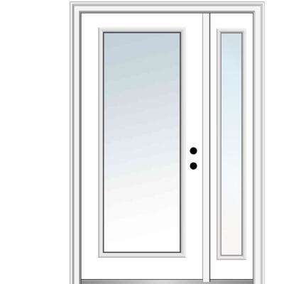 53 in. x 81.75 in. Clear Glass Full Lite Left Hand Classic Primed Fiberglass Smooth Prehung Front Door with One Sidelite