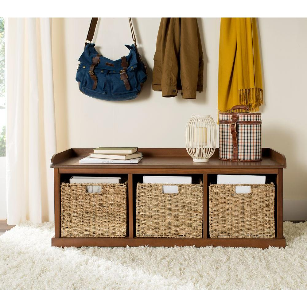 Marvelous Safavieh Lonan Medium Walnut Storage Bench