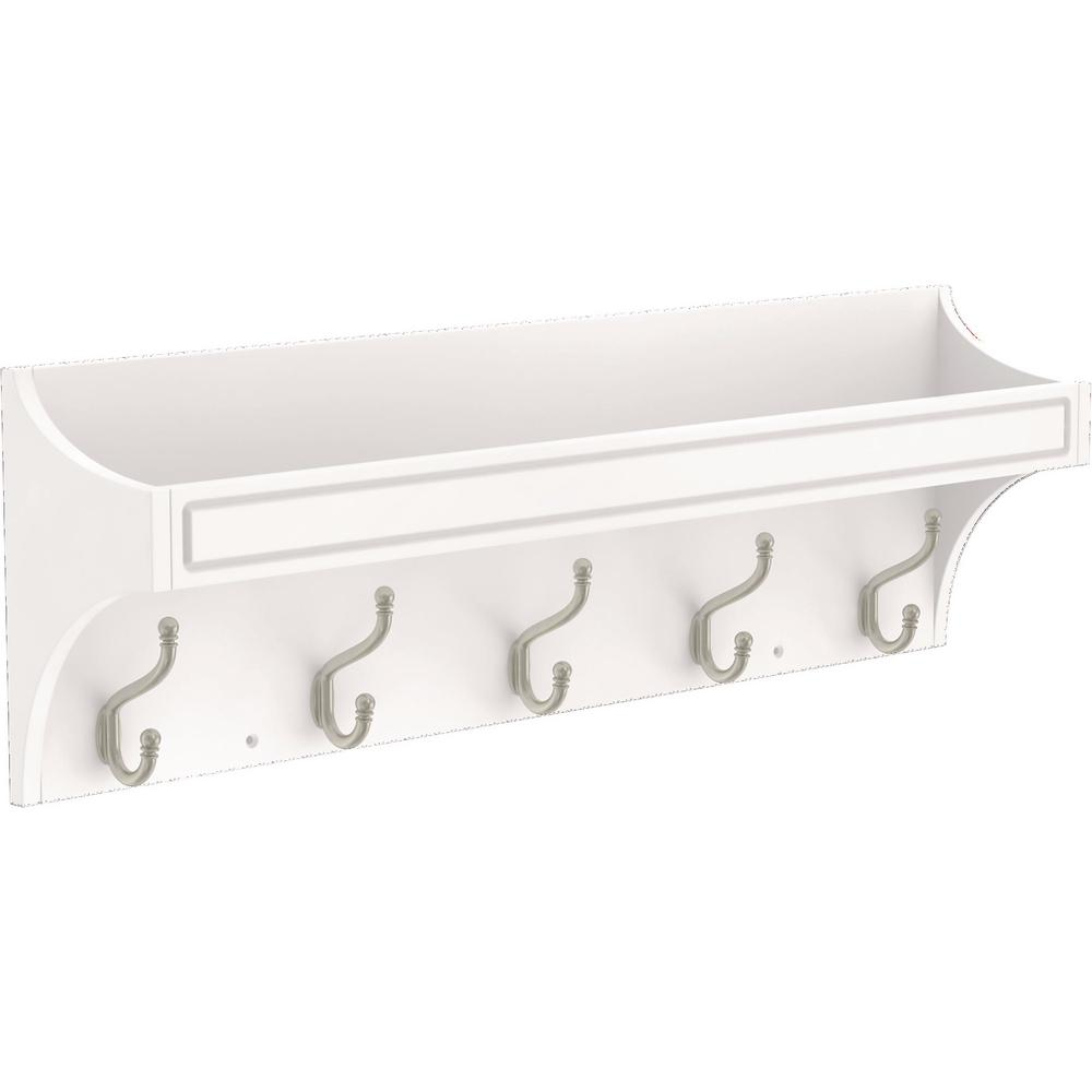 FranklinBrass Franklin Brass Classic Arch 28 in. White and Satin Nickel Trayed Hook Rack, Pure White and Satin Nickel