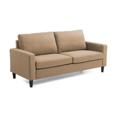 Nathaniel Home 74 in. Track Arm Sofa with Linen Textured Fabric, Brown