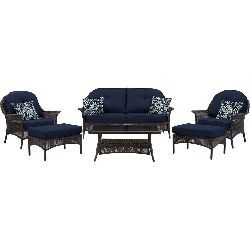 Hanover San Marino 6 Piece All Weather Wicker Patio Seating Set With Navy  Blue