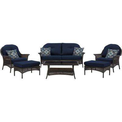 San Marino 6-Piece All-Weather Wicker Patio Seating Set with Navy Blue Cushions