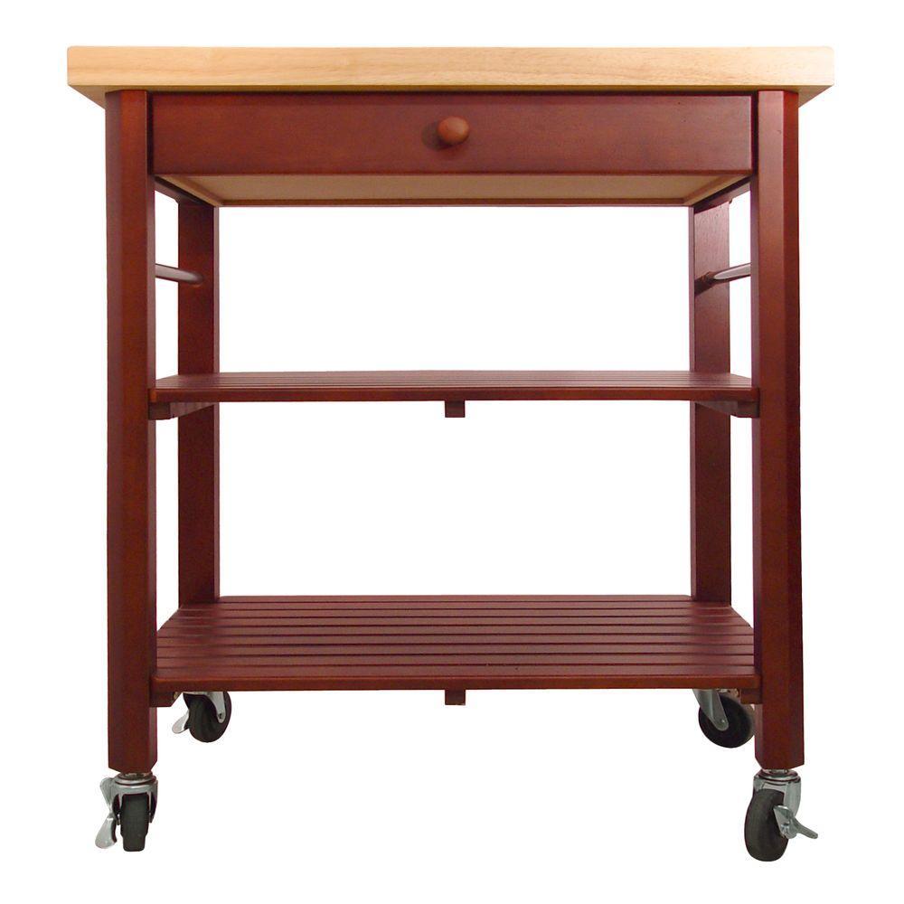 Catskill Craftsmen Cherry Stain Kitchen Cart With Shelf
