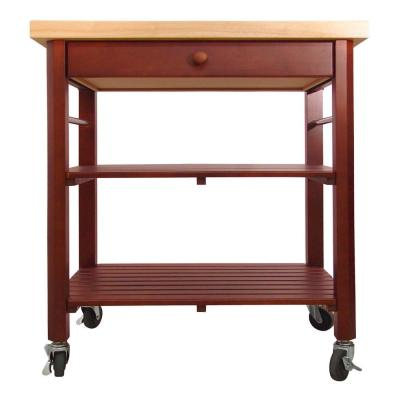 Cherry Stain Kitchen Cart with Natural Wood Top