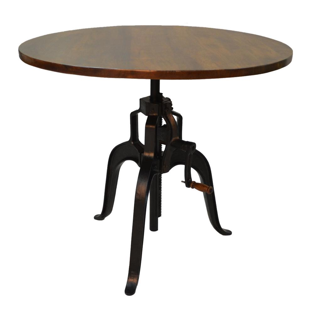 Details about Adjustable Crank Table 30-26 in  Mango Wood Top Adjustable  Hand Forged Iron Base