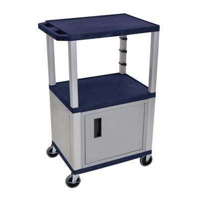 WT 42 in. H A/V Cart with Nickel Colored Cabinet in Navy Shelves