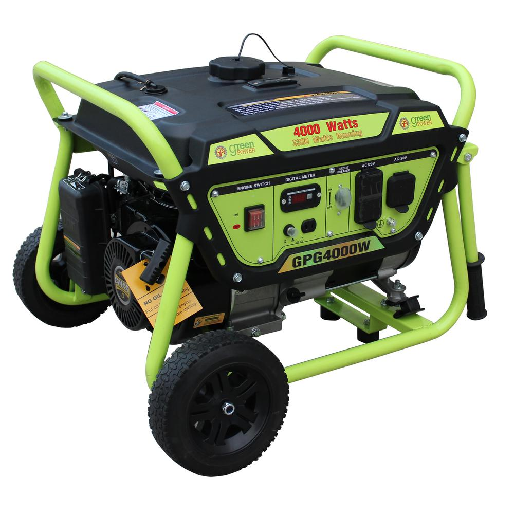 Green-Power 3,300-Watt Gasoline Powered Manual Start Portable Generator