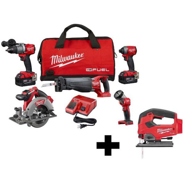 M18 FUEL 18-Volt Lithium-Ion Brushless Cordless Combo Kit (5-Tool) with  M18 FUEL Cordless Jig Saw