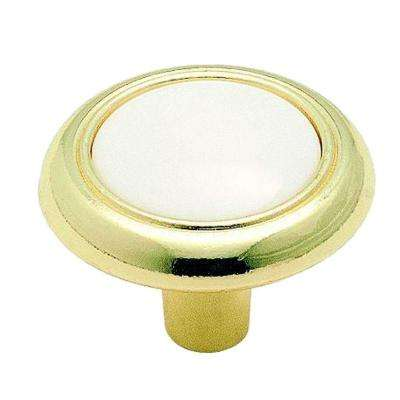 Allison Value 1-1/4 in (32 mm) Diameter White/Polished Brass Cabinet Knob