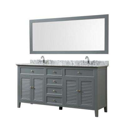 Shutter 70 in. Bath Vanity in Gray with White Carrara Marble Vanity Top with White Basins and 1 Large Mirror