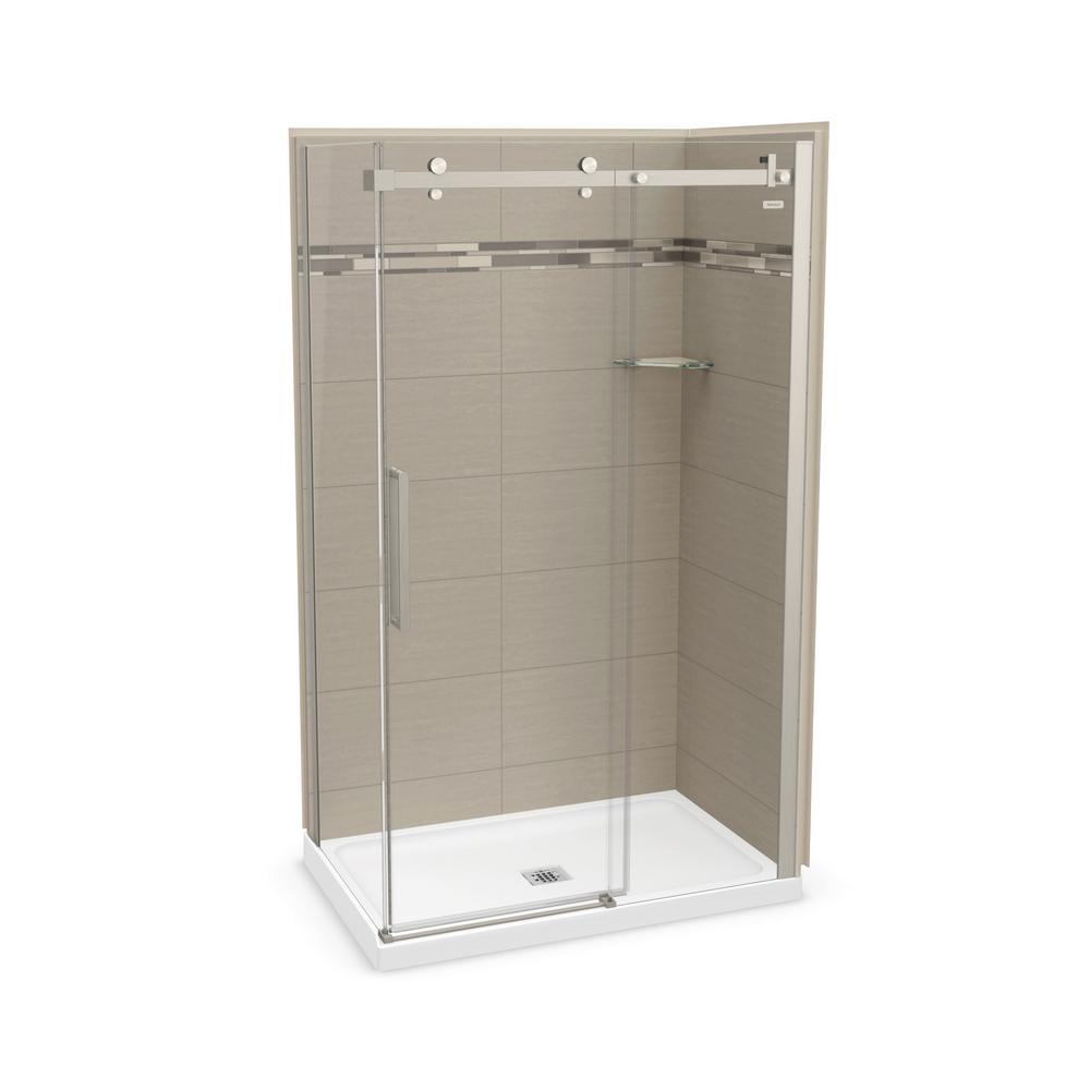 Utile Origin 32 in. x 48 in. x 83.5 in. Center Drain Corner Shower Kit in Greige with Brushed Nickel Shower Door