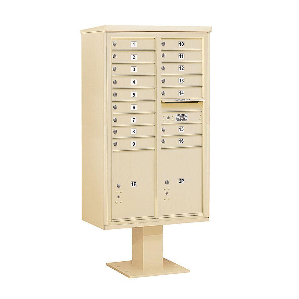 3400 Series 70-1/4 in. 15 Door High Unit Sandstone 4C Pedestal Mailbox with 16 MB1 Doors/2 PL6