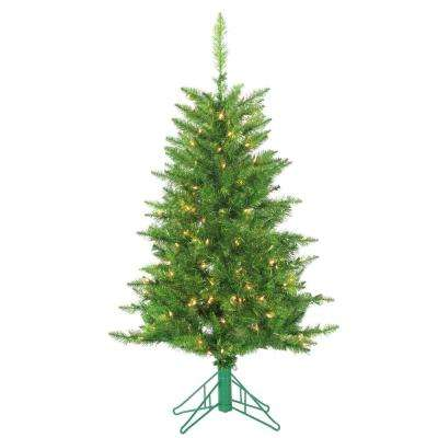4 ft. Pre-Lit Green Tuscany Tinsel Artificial Christmas Tree