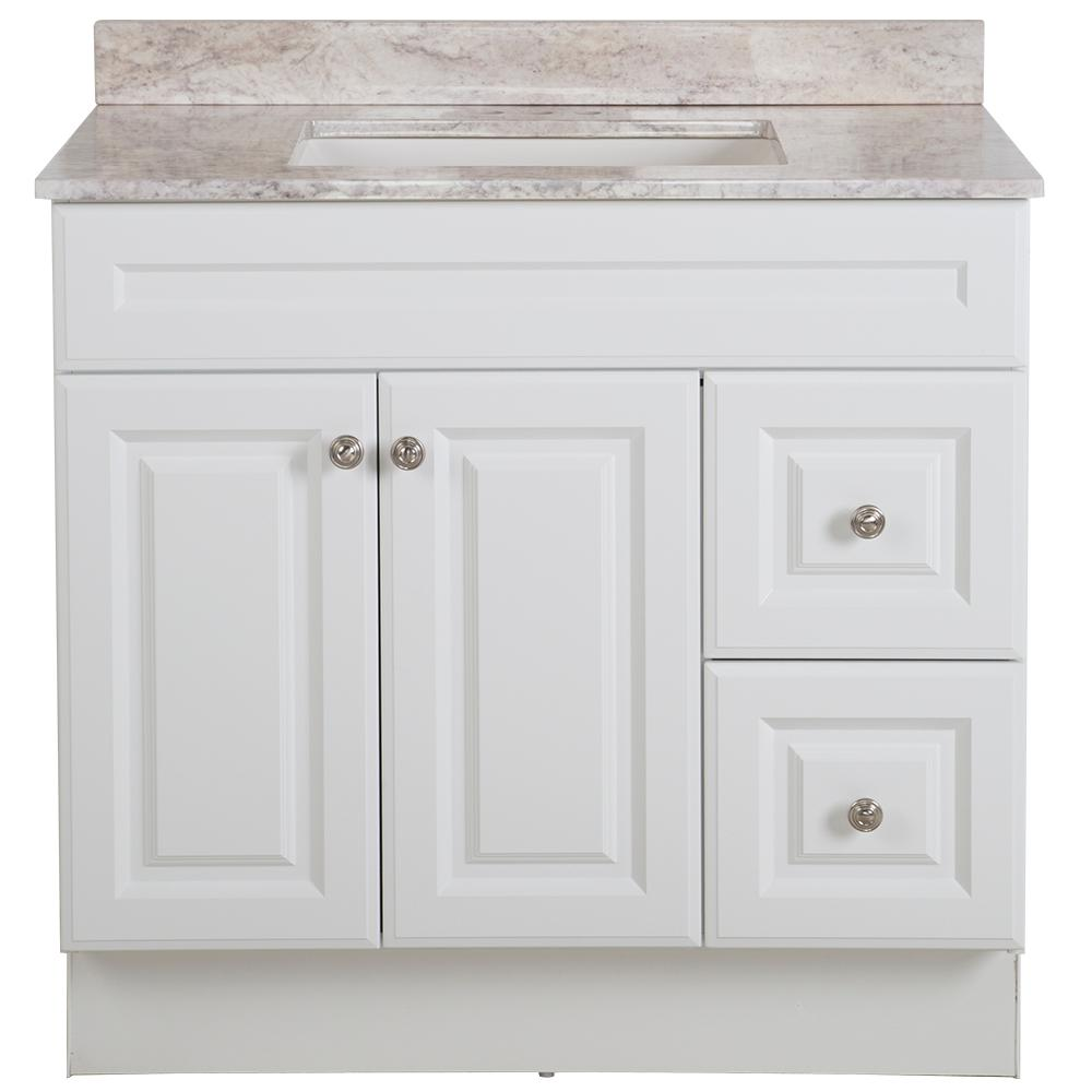 Glacier Bay Glensford 37 in. W x 22 in. D Bathroom Vanity in White with Stone Effects Vanity Top in Winter Mist with White Sink