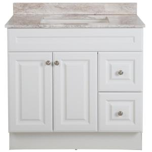 Glensford 37 in. W x 22 in. D Bathroom Vanity in White with Stone Effects Vanity Top in Winter Mist with White Sink