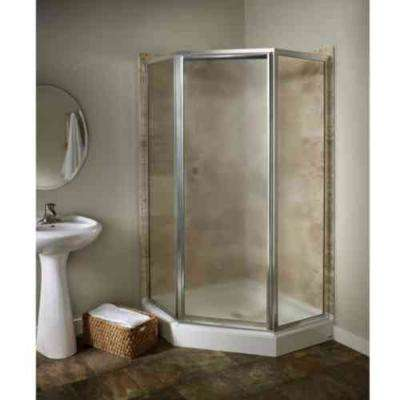 Prestige 24.12 in. x 68.5 in. Framed Neo-Angle Shower Door in Silver and Hammered Glass