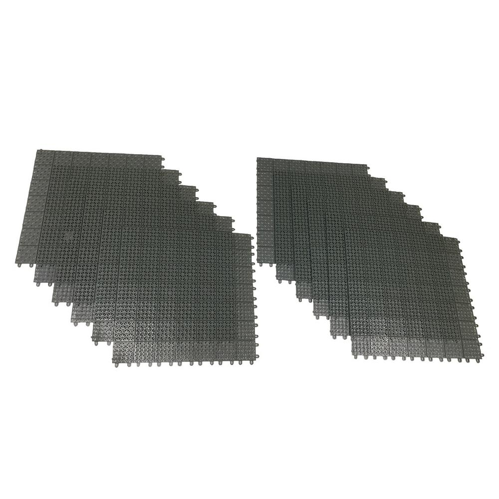 RSI Gray Regenerated 22 in. x 22 in. Polypropylene Interlocking Floor Mat System (Set of 12 Tiles)
