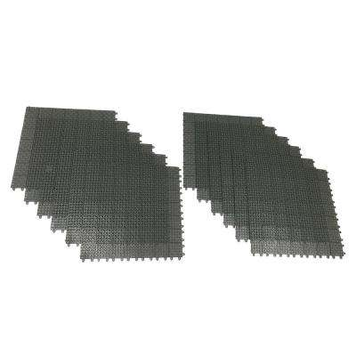 Gray Regenerated 22 in. x 22 in. Polypropylene Interlocking Floor Mat System (Set of 12 Tiles)