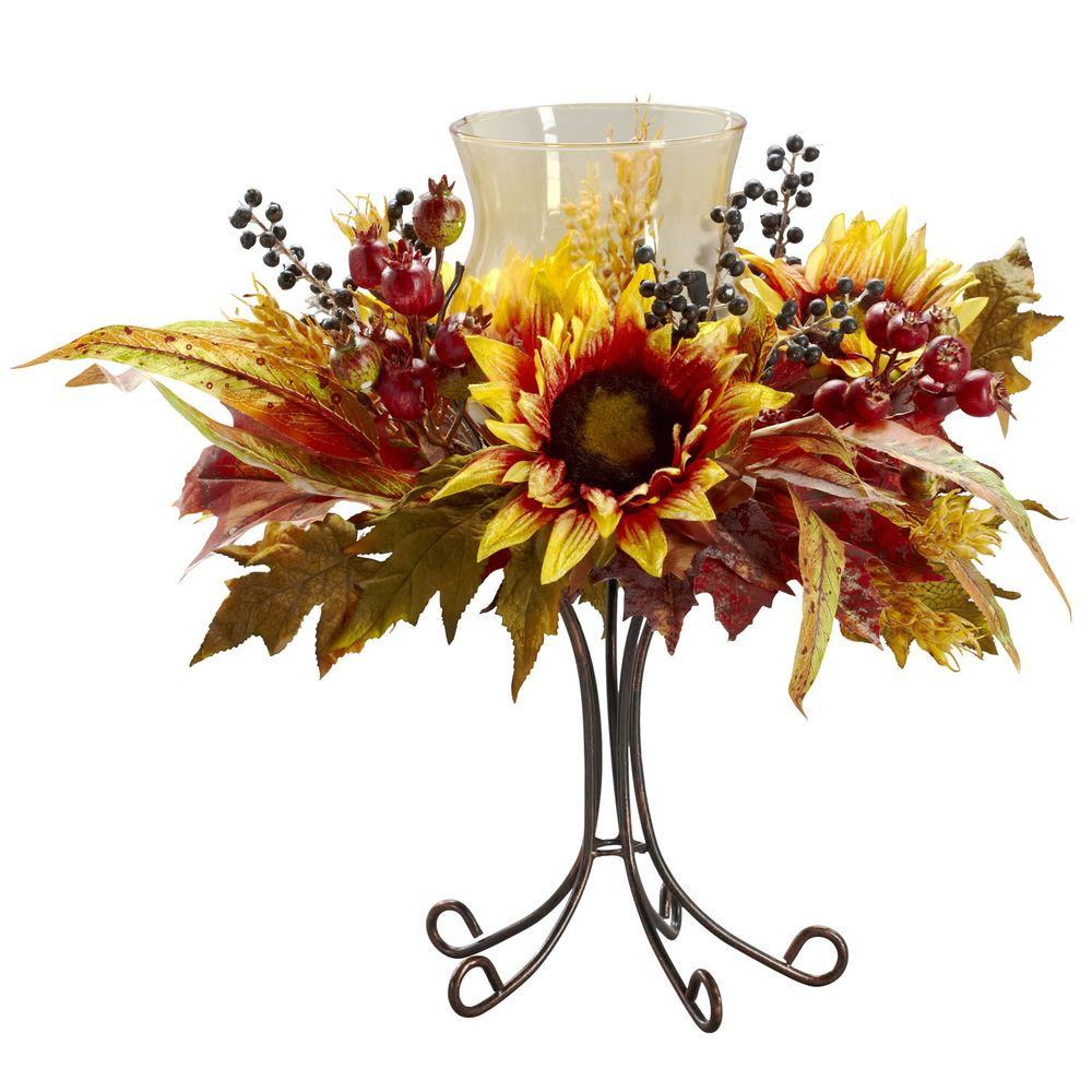 Nearly Natural 16 In H Yellow Sunflower Candelabrum 4933 The Home