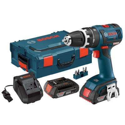 18 Volt Lithium-Ion Cordless 1/2 in. Variable Speed Brushless Compact Tough Hammer Drill/Driver Kit with Hard Case