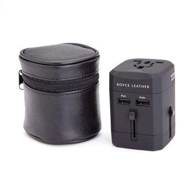 International Travel Adapter in Genuine Leather Case