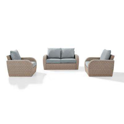 St Augustine 3-Piece Wicker Patio Outdoor Seating Set with Mist Cushion - 2 Wicker Outdoor Chairs, Coffee Table
