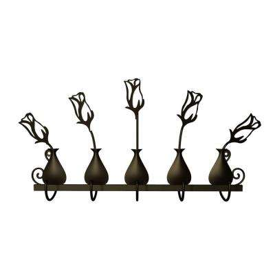 Rose Bud Vases 5 Hooks in Dark Bronze