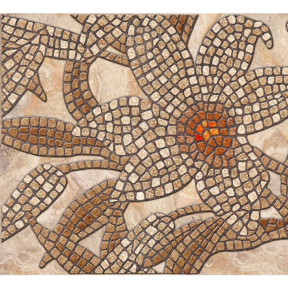 Dundee Deco Falkirk Crest 3d 1 8 In X 38 In X 19 In Beige Brown Stone Mosaic Flower Pvc Wall Panel P459564 The Home Depot