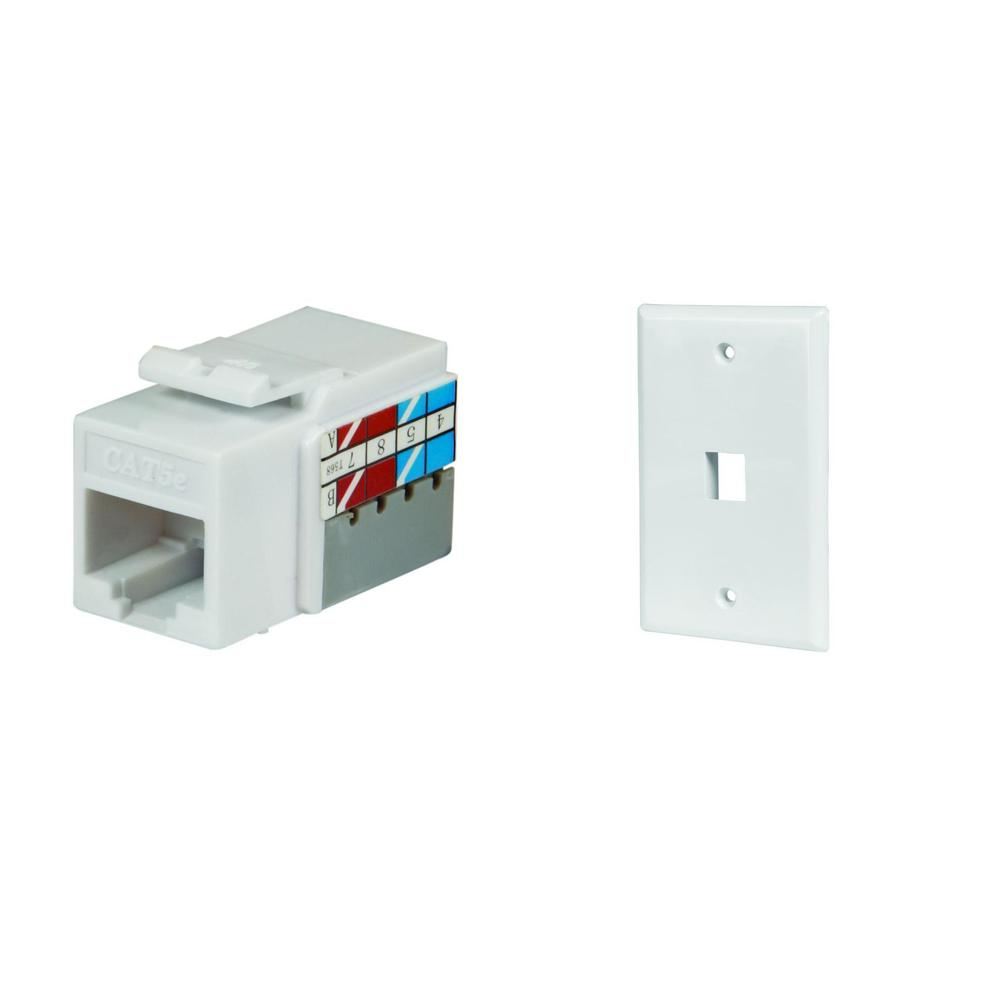 1-Port Wall Plate and Category 5E Jack in White (10-Pack)