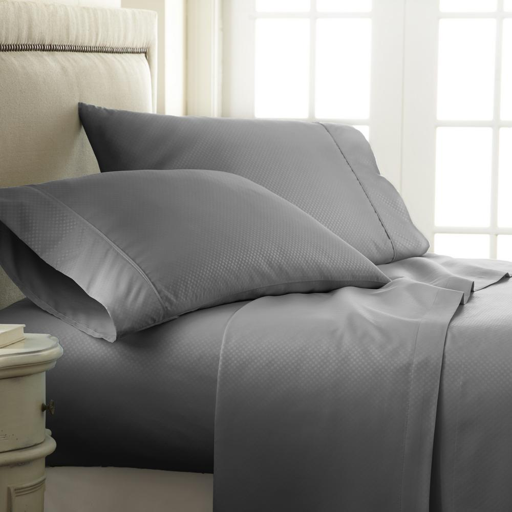 Lovely Becky Cameron Embossed Checkered Gray Queen Performance 4 Piece Bed Sheet  Set