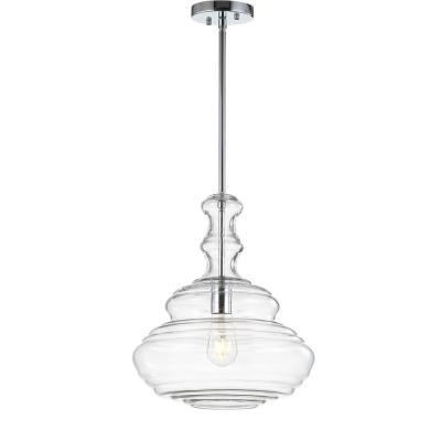 Bettina 13.37 in. 1-Light Chrome/Clear Glass/Metal LED Pendant