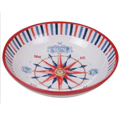 Nautical Life Multi-Colored 13 in. Serving/Pasta Bowl