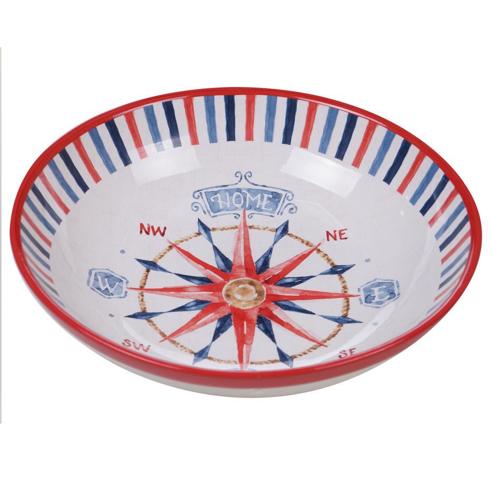 Nautical Life Multi-Colored 13 in. Serving/Pasta Bowl