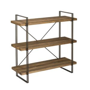 Raw Brown Wood 3-Tier Etagere Open Bookcase by