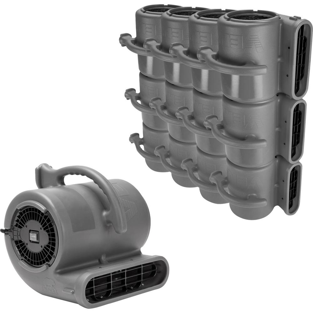 B-Air 1/2 HP Air Mover Janitorial Water Damage Restoration Stack Carpet Dryer Floor Blower Fan in Grey (45-Pack)