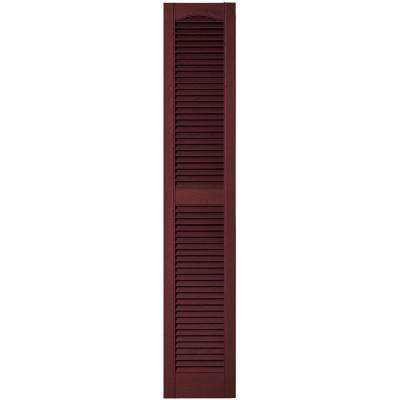 12 in. x 64 in. Louvered Vinyl Exterior Shutters Pair in #078 Wineberry