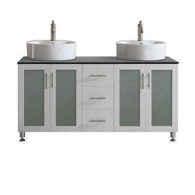 Tuscany 60 in. W x 22 in. D x 30 in. H Vanity in White with Glass Vanity Top in Black with Basin