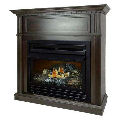 27,500 BTU 42 in. Convertible Ventless Propane Gas Fireplace in Tobacco