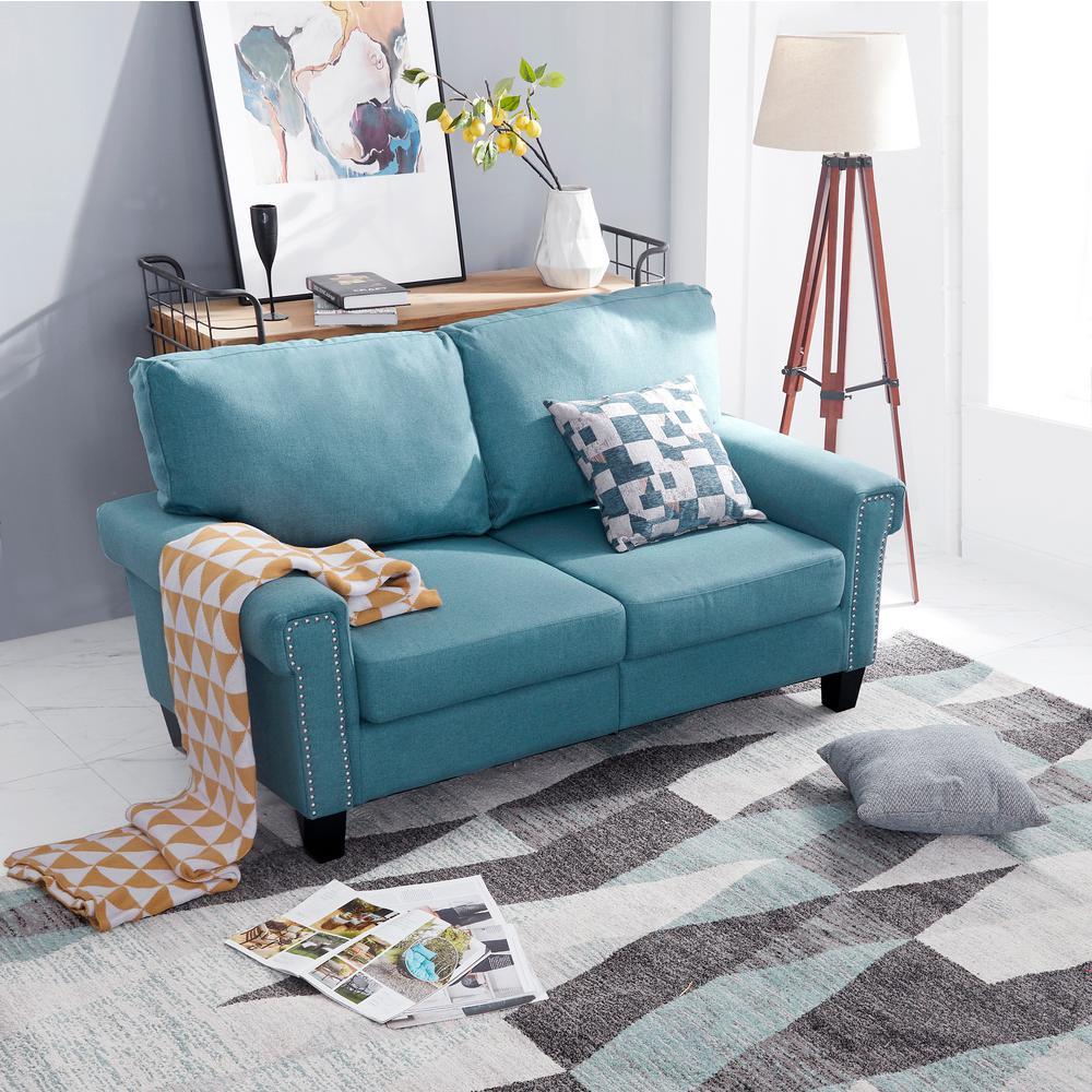 2-Seat Blue Polyester Loveseat