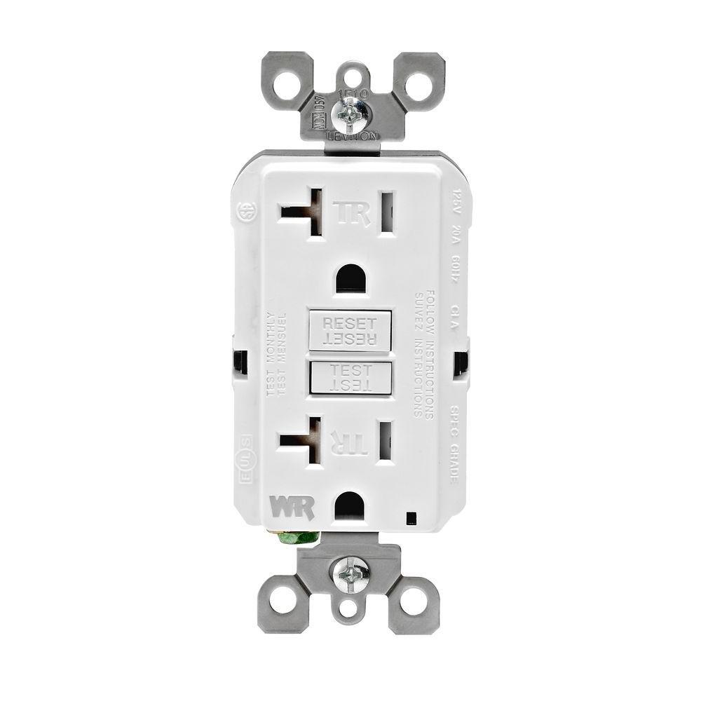 SmartLockPro 20 Amp Slim Weather Resistant/Tamper Resistant GFCI Duplex Outlet, White